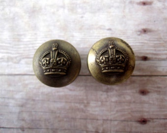 "One of a Kind Pair of Antique Brass Crown Plugs - Vintage OOAK Handmade Gauges - Earrings - 9/16"" (14mm)"