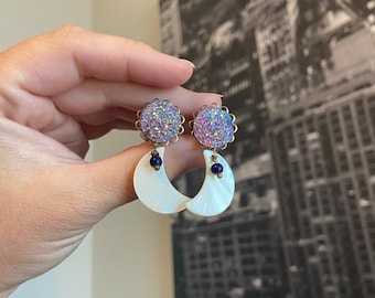 """One of a Kind Pair of Druzy Plugs with Mother of Pearl Moon Charms - 7/16"""" (11mm or 000g)"""