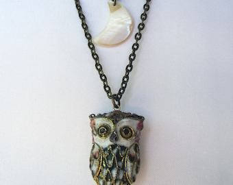 One of a Kind, Unique Mother of Pearl Moon and Vintage Owl Layered Necklace - Handmade - Bohemian Jewelry - Boho Vintage