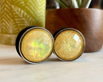 """One of a Kind Pair of Gold and Opalescent Faceted Mermaid Plugs - Girly Gauges - 1"""" (25mm) Earlets"""