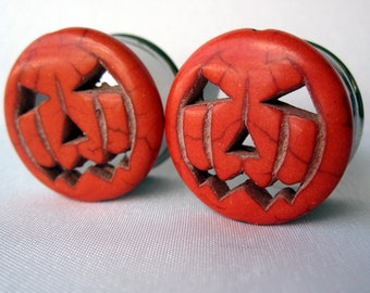 "Pair of Orange Jack-O-Lantern Plugs - Halloween Gauges - Pumpkin Tunnels - 0g, 00g, 7/16"", 1/2"", 5/8"", 3/4"", 7/8"", 1"""