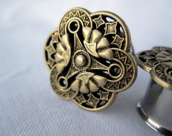 "Pair of Antique Brass or Silver Steampunk Plugs - Handmade Gauges - Earrings - 9/16"", 5/8"", 3/4"" (14mm, 16mm, 19mm)"