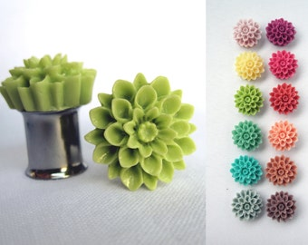 "Pair of Chrysanthemum Plugs - Tons of Colors - Handmade Girly Gauges - 2g, 0g, 00g, 7/16"", 1/2"", post earrings (6mm, 8mm, 10mm, 11mm, 12mm)"
