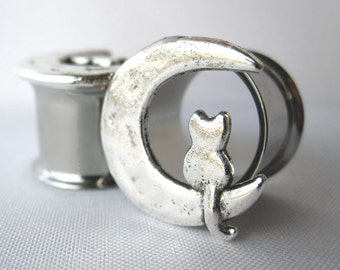 "Pair of Unique Silver Cat and Moon Tunnels - Girly Plugs - Feminine Gauges - 1/2"", 9/16"", 5/8"" (12mm, 14mm, 16mm) - Crescent Moon"