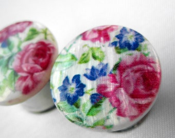 "Pair of Floral Print Mother of Pearl Plugs - Girly Bridal Gauges - 9/16"", 5/8"" (14mm, 16mm)"