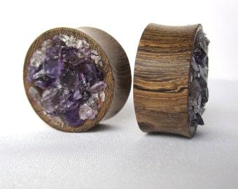 "Pair of Amethyst Cluster Wood Plugs - 2g, 0g, 00g, 1/2"", 9/16"", 5/8"", 3/4"", 7/8"", 1"" (6mm, 8mm, 10mm, 12mm, 14mm, 16mm, 19mm, 22mm, 25mm)"