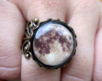 Full Moon Filigree Ring - Adjustable - Handmade - Boho - Bohemian Jewelry - Antique Brass