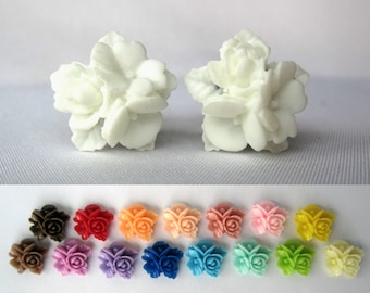 "Pair of Unique Detailed Flower Bouquet Plugs - Gauges - 8g, 6g, 4g, 2g, 0g, 00g, 7/16"", 1/2"" (3mm, 4mm, 5mm, 6mm, 8mm, 10mm, 11mm, 12mm)"