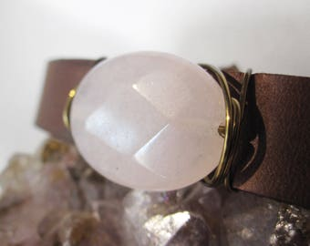 One of a Kind Polished Rose Jade and Leather Bracelet - Handmade Bohemian Jewelry - Boho Layering Jewelry - Blush Stone