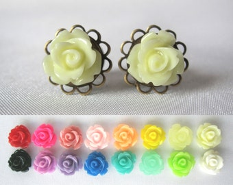 Pair of Delicate Rose Plugs - Handmade Girly Gauges - Formal - Bridal - Wedding - 8g, 6g, 4g, 2g, 0g, 00g (3mm, 4mm, 5mm, 6mm, 8mm, 10mm)