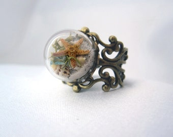 New Small Beach in a Bubble Filigree Ring - Real Sand, Shells, Sea Glass, Starfish, Sand Dollar - Novelty Gift - Statement Ring Jewelry