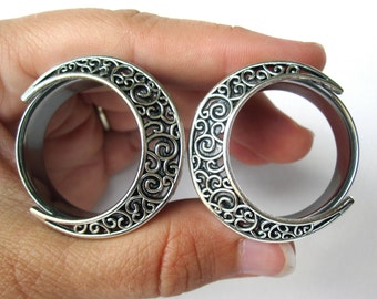 Pair of Silver Swirl Moon Tunnels - Girly Plugs - Feminine Gauges - Handmade - 26mm 28mm 30mm 32mm Boho Bohemian