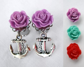 Pair of Ruffled Rose Plugs with Anchor Charms - Silver or Antique Brass - Handmade Girly Gauges - 4g, 2g, 0g, 00g (5mm, 6mm, 8mm, 10mm)