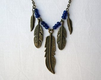 Unique Antique Brass Feather and Blue Glass Bead Necklace - Handmade - Bohemian Jewelry - Boho