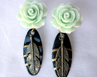 "LAST One of a Kind Pair of Mint Rose Plugs with Vintage Brass Feather Charms - 1/2"" (12mm) Seafoam Dangle Gauges"