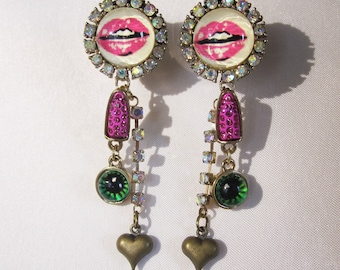 "One of a Kind Pair of Vintage Betsey Johnson Earrings / Plugs - Unique Lipstick Gauges - 1/2"", 9/16"" (12mm, 14mm)"