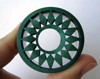Pair of Unique Wooden Forest Green Geometric Tunnels - 30mm, 32mm - Festival Plugs - Feminine Gauges - Handmade - Boho Bohemian