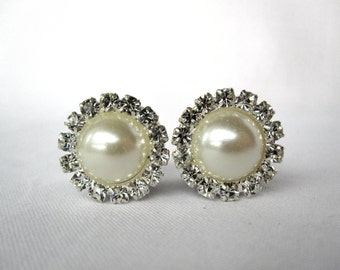 "Pair of Unique Rhinestone and Pearl Plugs - Formal Gauges - 2mm-16mm (10g, 8g, 6g, 4g, 2g, 0g, 00g, 7/16"", 1/2"", 9/16"", 5/8"") Bridal Prom"