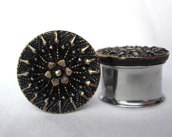 "Pair of VINTAGE Black and Gold Button Plugs - Girly Gauges - 3/4"", 7/8"" (19mm, 22mm) - Antique - Feminine - Formal"