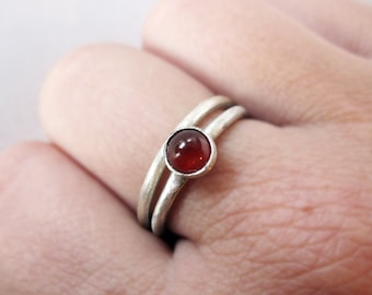 Carnelian Stacking Rings Duo - Sterling Silver or Copper- Custom Size - Stacking Ruby Red Crystal - Healing Stone Jewelry - Boho Bohemian