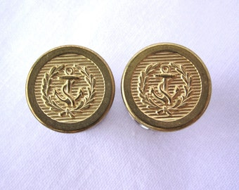 """Pair of Gold Embossed Nautical Anchor Plugs - Handmade Girly Gauges - 0g, 00g, 7/16"""", 1/2"""", 9/16"""", 5/8"""" (8mm, 10mm, 11mm, 12mm, 14mm, 16mm)"""