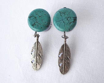 """Pair of Turquoise Plugs w/ Feather Charms - 2g,0g,00g,7/16"""",1/2"""",9/16"""",5/8"""",3/4"""",7/8"""",1"""" (6mm,8mm,10mm,11mm,12mm,14mm,16mm,19mm,22mm,25mm)"""