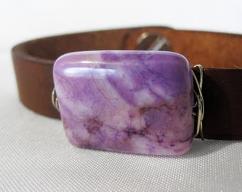 One of a Kind Pink and Purple Jasper and Leather Bracelet - Handmade Bohemian Jewelry - Boho Layering Jewelry - Natural Stone - Silver