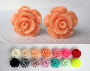 Pair of Detailed Rose Plugs - Handmade Girly Feminine Gauges - 10g, 8g, 6g, 4g, 2g, 0g, 00g, (2mm, 3mm, 4mm, 5mm, 6mm, 8mm, 10mm, 11mm, 12mm