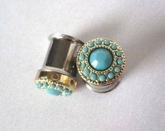 """Pair of Gold and Turquoise Feminine Plugs - Handmade Girly Gauges - 0g, 00g, 7/16"""" (8mm, 10mm, 11mm)"""