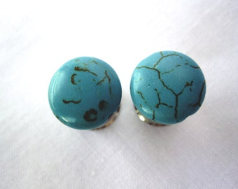 """Pair of Turquoise Plugs - 2g, 0g, 00g, 7/16"""", 1/2"""", 9/16"""", 5/8"""", 3/4"""", 7/8"""", 1"""" (6mm, 8mm, 10mm, 11mm, 12mm, 14mm, 16mm, 19mm, 22mm, 25mm)"""