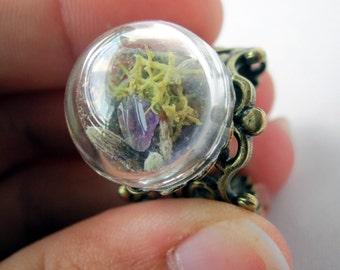 New Small Amethyst, Lavender and Moss Bubble Filigree Ring - Real Amethyst Crystal Ring - Healing Stone Novelty Gift -Statement Ring Jewelry