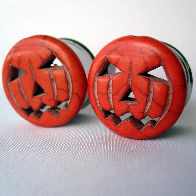 Pair of Orange Jack-O-Lantern Plugs  Halloween Gauges  image 0