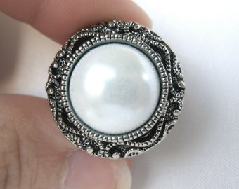 """Pair of Antique Silver and Pearl Button Plugs - Handmade Girly Gauges - Formal Bridal Prom 4g, 2g, 0g, 00g, 7/16"""", 1/2"""", 9/16"""", 5/8"""", 3/4"""""""