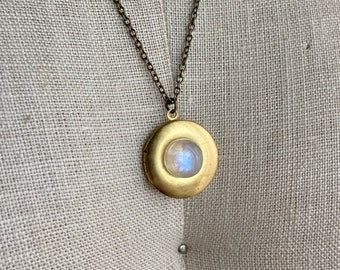 Moonstone and Brass Large Essential Oil Diffuser Necklace - Unique Aromatherapy Oils - Brass Locket Charm - Moon Stone Crystal Chain Jewelry