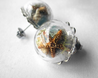 Pair of Beach in a Bubble Statement Post Earrings - Surgical Steel - Real Sand, Shells, Sea Glass, Starfish