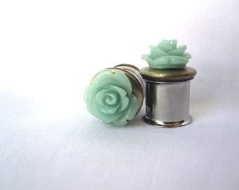 """One of a Kind Pair of Mint Rose and Antique Brass Plugs - Handmade Seafoam Gauges - 00g, 7/16"""", 1/2"""" (10mm, 11mm, 12mm)"""