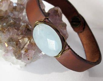 One of a Kind Polished Robin's Egg Blue Jade and Leather Bracelet - Handmade Bohemian Jewelry - Boho Layering Jewelry - Blue Stone