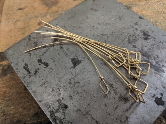 Oxidized Brass Square Loop Headpins 3 inch forged antiqued brass diamond headpins set of 10 handmade 20 gauge fancy eyepins