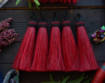"Tawny Port Red: Bright Solid Large Horse Hair Tassels, 4.5"" x 1pc / Jewelry Tassel, Boho, Keychain, Western, Cowgirl Accessories, Supplies"