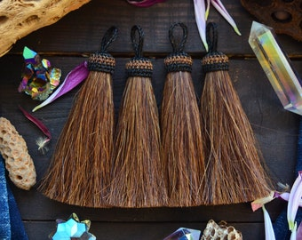 "Dark Sorrel: Bright Solid Large Horse Hair Tassels, 4.5"" x 1pc / Jewelry Tassel, Boho, Keychain, Western, Cowgirl Accessories, Supplies"