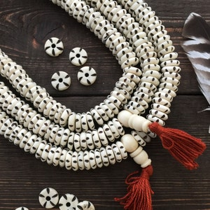 DIY Jewelry Supplies 25x14mm Large Rondelle Bone Beads from Africa 10 beads  Trade Beads Bone Rondelle: Batick Black and White Bullseye
