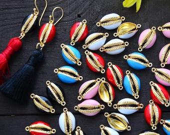 Beach Jewelry Shell Charms Pukka Shells Gold Plated One Shell  Friendship Bracelets Hot Pink Enamel Cowrie Shells 1x16.5mm
