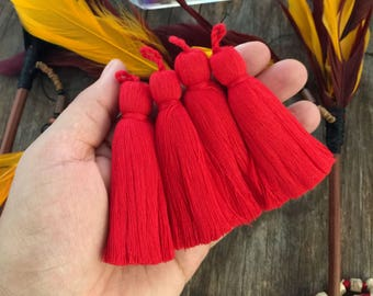 """Red, 3.5"""" Luxe Cotton Tassels with Braided Loop, 2 pcs / Large Handmade Cotton Tassel, Jewelry Making, Adornments, Home Decoration, Supplies"""