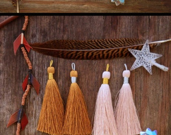 "Naturals Luxe Silk Tassel Mix, 3"" Braided Long Loop Handmade Jewelry Tassels / Jewelry Making, DIY / Pick your Qty and Binding"