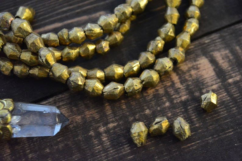 Togo Africa 60 beads  Metal Beads from Benin Full necklace 8-10mm Handmade Brass Spacers African Bicone Brass Beads approx
