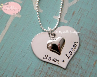 Personalized Hand Stamped Heart Shaped Disc Tag with Silver Tone Puffy Heart Charm