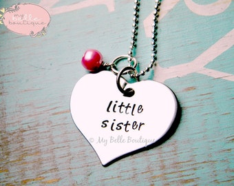 Personalized Hand Stamped LITTLE SISTER Necklace With Bubblegum Pink Pearl Charm