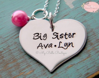 Personalized Hand Stamped BIG SISTER Necklace With Bubblegum Pink Pearl Charm