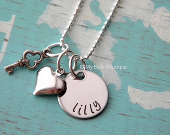 Personalized Hand Stamped Necklace with Key and Heart Charms