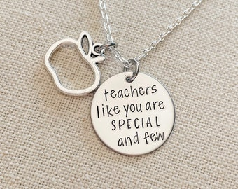 Personalized Hand Stamped Teacher Necklace with Apple Charm - Teach Love Inspire